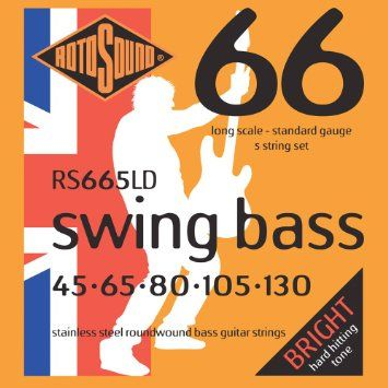 Rotosound RS665LD Swing 45-130 Stainless Steel 5-String Bass Guitar Strings